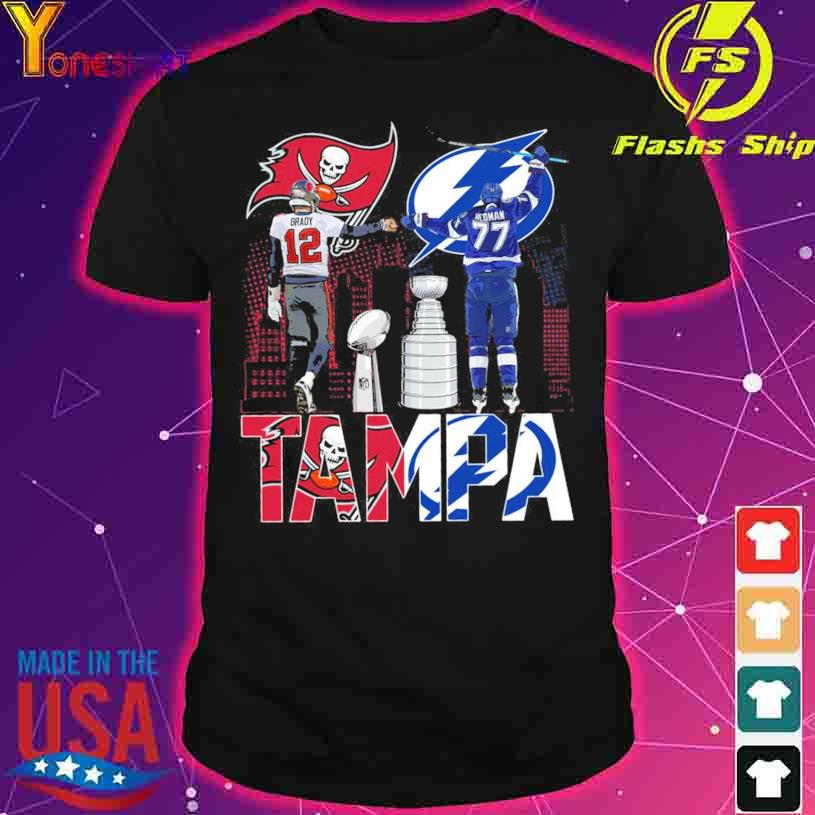 Tampa Bay Buccaneers Brady 12 and Tampa Bay Lightning Hedman 77 shirt