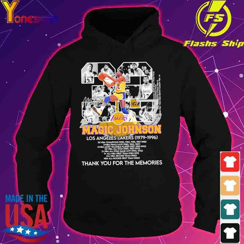 Los Angles Lakers Magic Johnson 32 1979 1996 thank you for the memories s hoodie