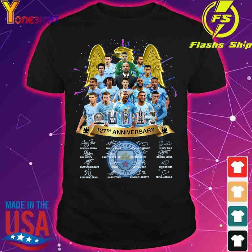 Manchester City 127TH Anniversary Sergio Riyad Mahrez Kevin De Bruyne signatures shirt