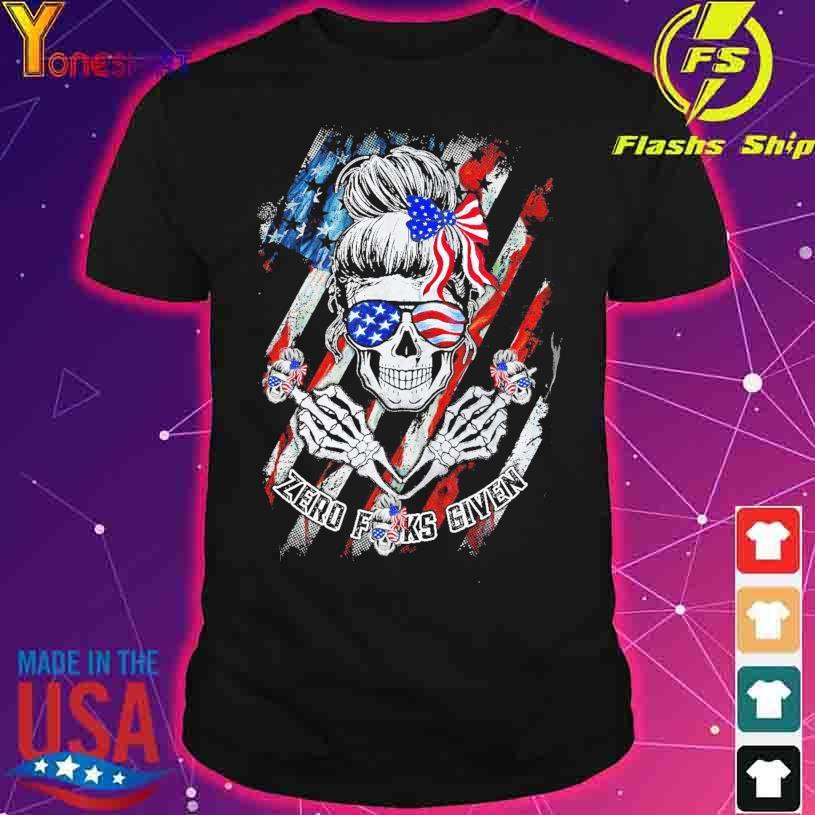 Skull zero Fucks given American Flag shirt