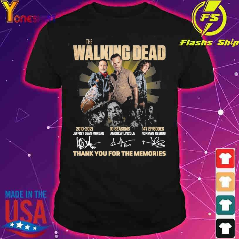 The Walking Dead 2010-2021 10 seasons 147 episodes signatures thank you for the memories shirt