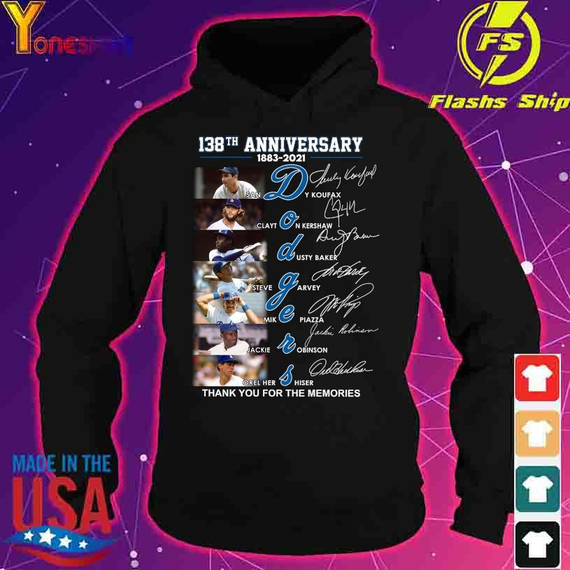 138TH Anniversary 1883 2021 Dodgers thank You for the memories signatures s hoodie