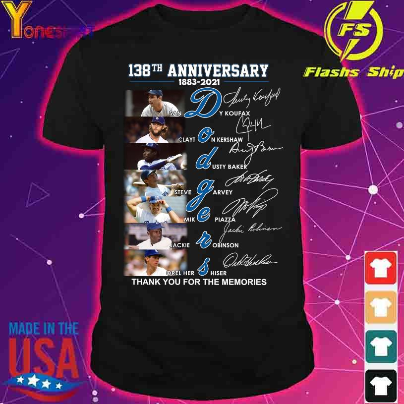 138TH Anniversary 1883 2021 Dodgers thank You for the memories signatures shirt