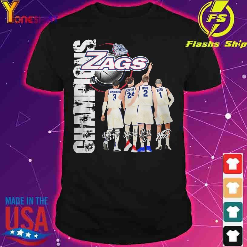 2021 Champions Gonzaga Bulldogs Zags Nembhard Kispert Timme Suggs signatures shirt