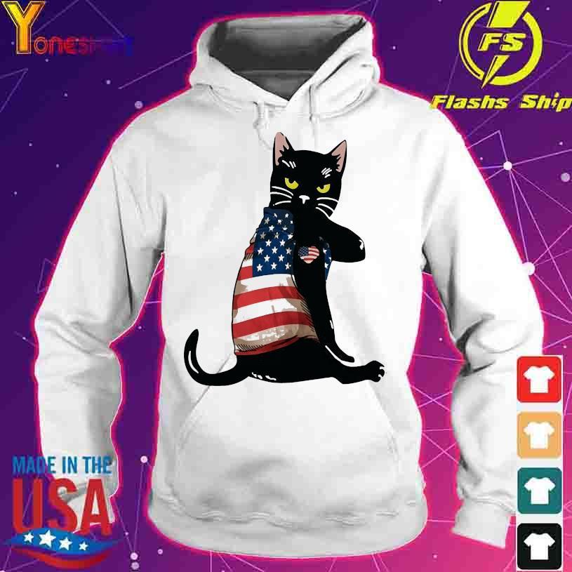 Black cat tattoo American flag s hoodie