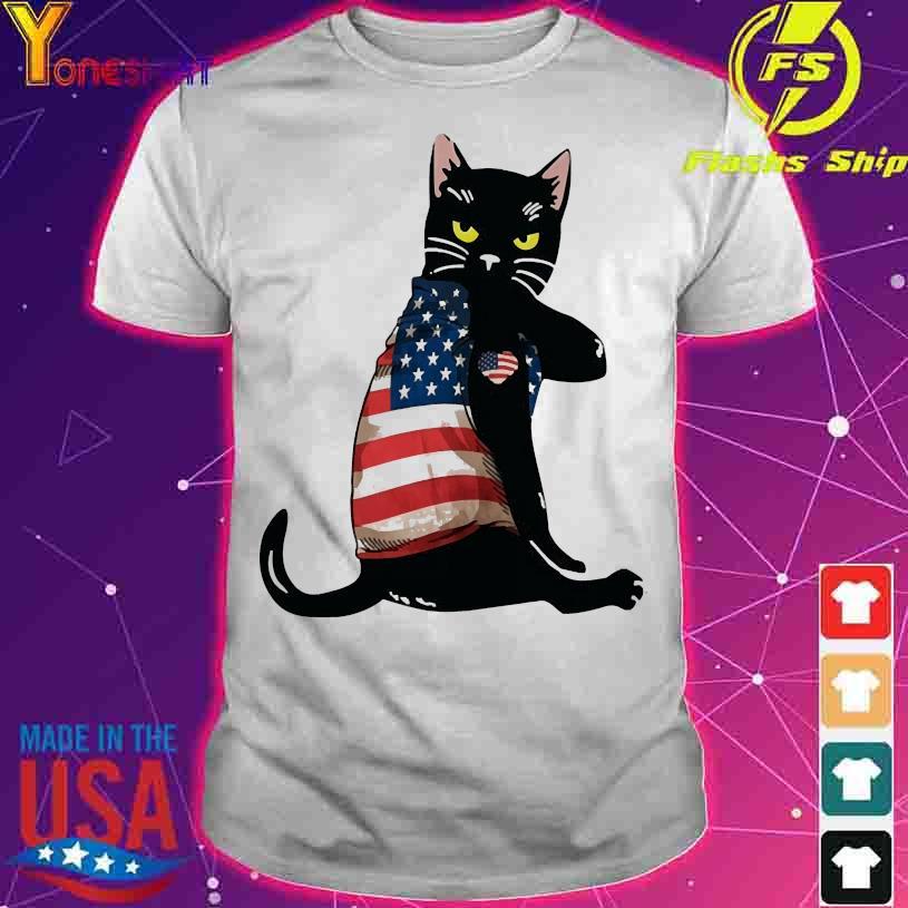 Black cat tattoo American flag shirt