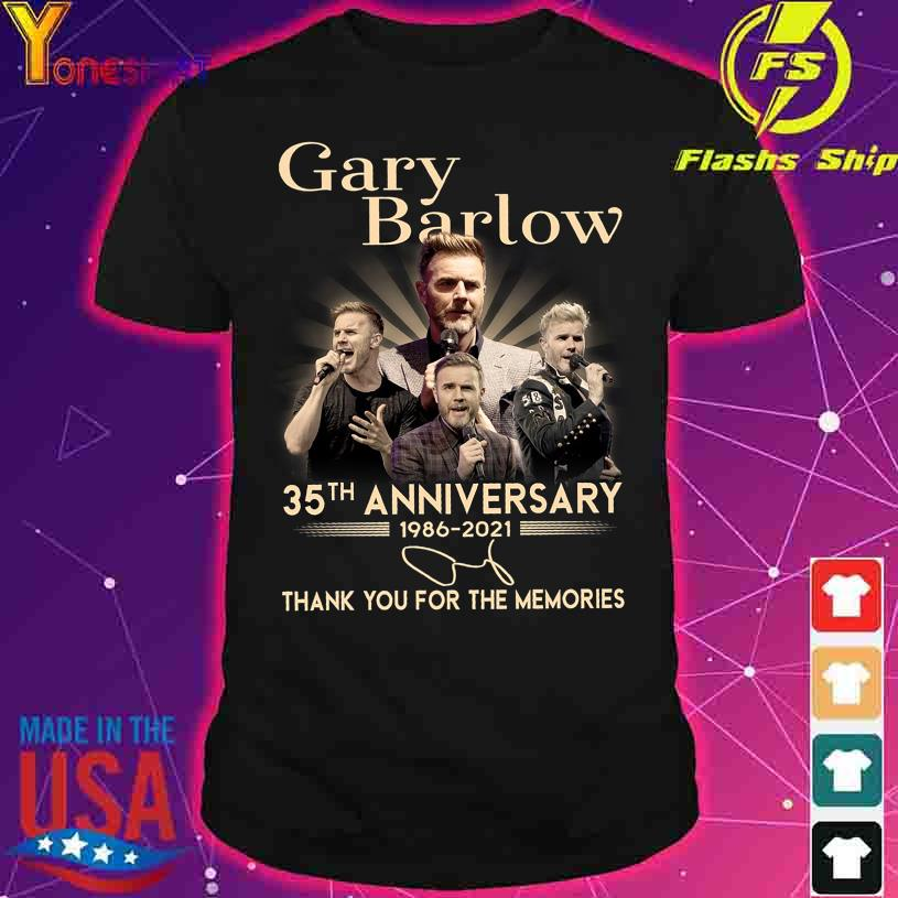 Gary Barlow 35TH Anniversary 1986 2021 thank You for the memories signatures shirt