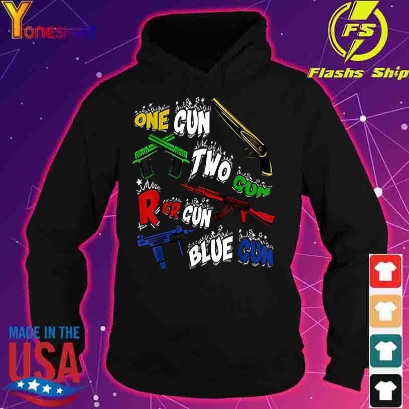 Official One Gun Two Gun Red Gun Blue Gun s hoodie