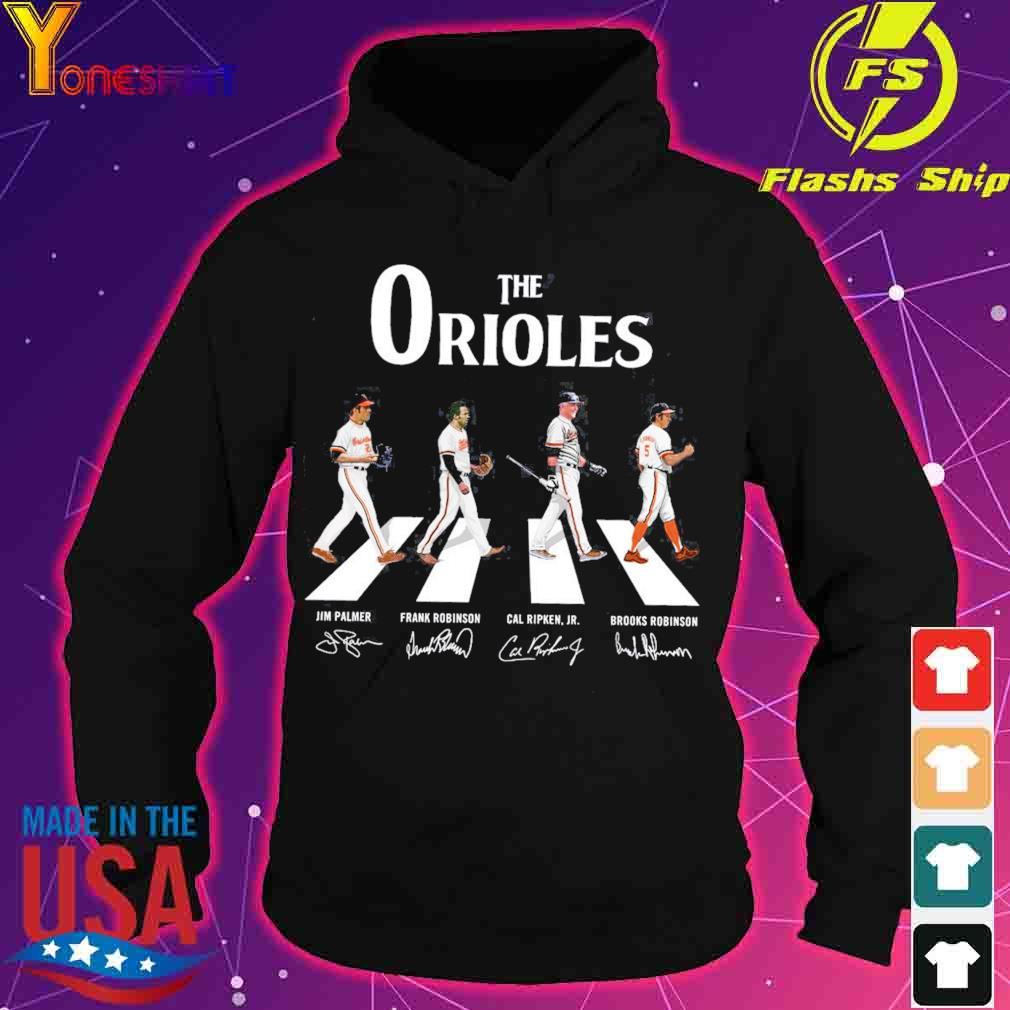 The Orioles Jim Palmer Frank Robinson Cal Ripken JR Brooks Robinson road signatures s hoodie