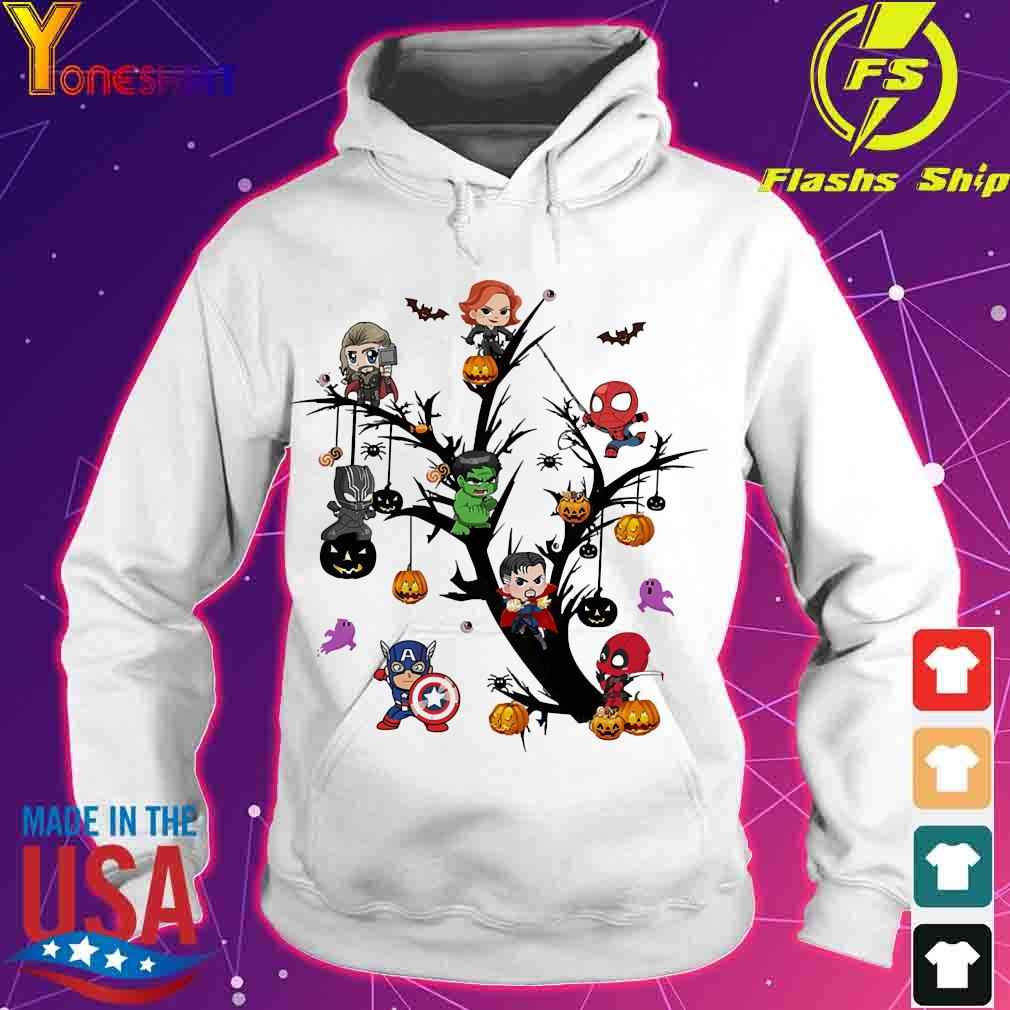 Avengers Superheroes chibi on the Halloween tree s hoodie