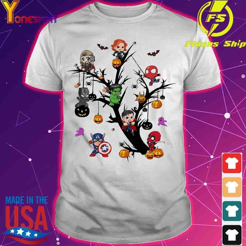 Avengers Superheroes chibi on the Halloween tree shirt