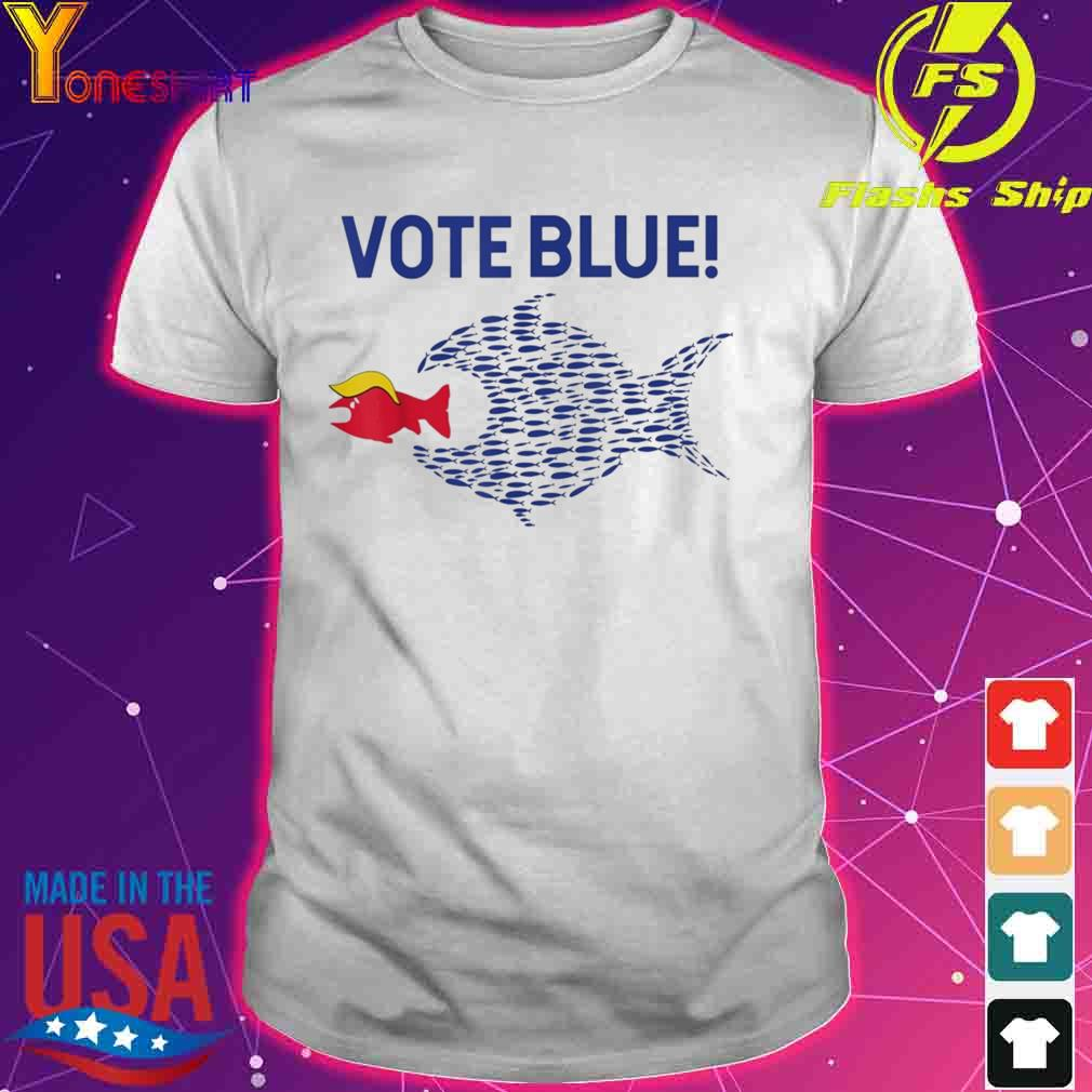 Vote Blue Fish Eating Red Fish Trump Funny Political Meme Shirt