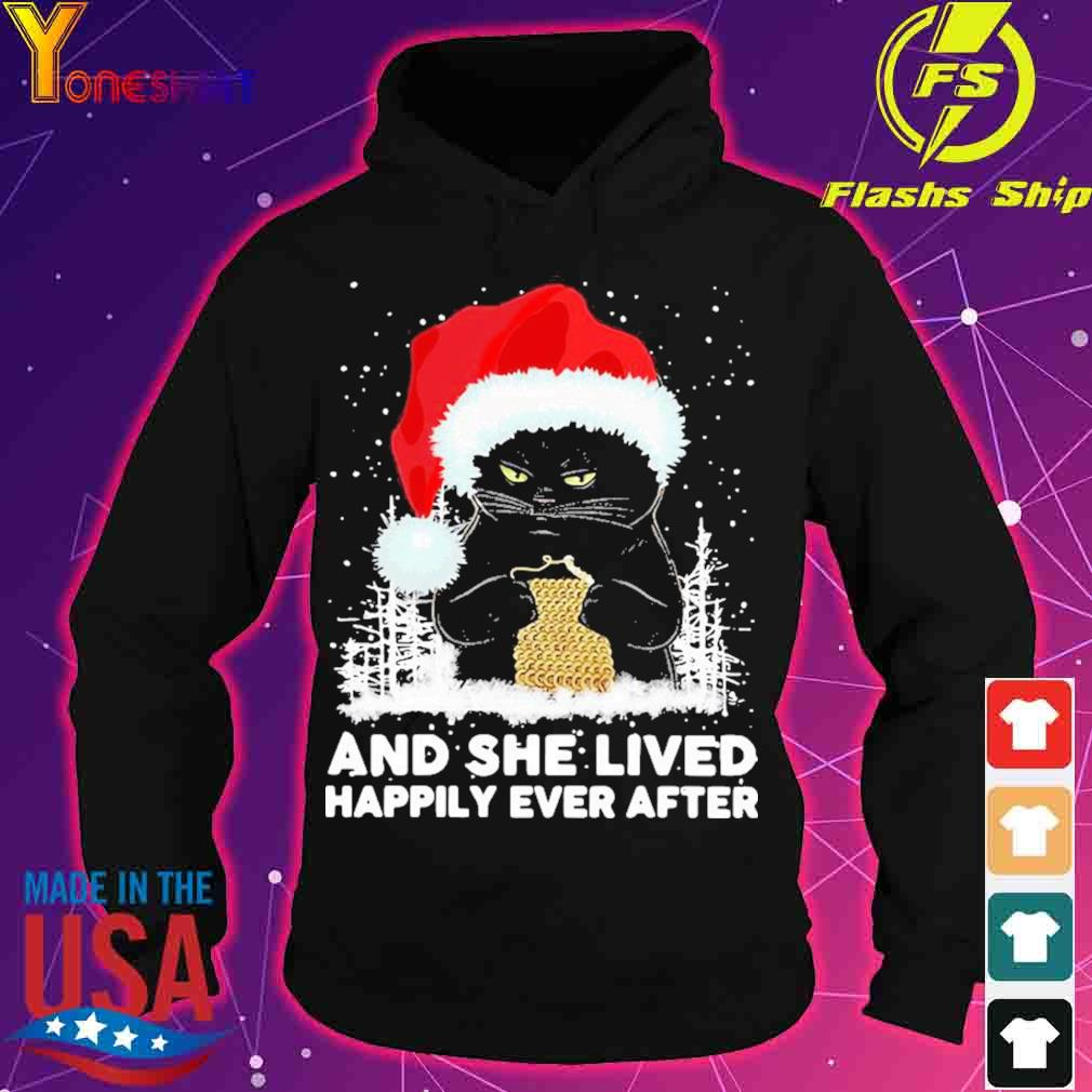 Black Cat And She Lived Happily Ever After Christmas Shirt hoodie