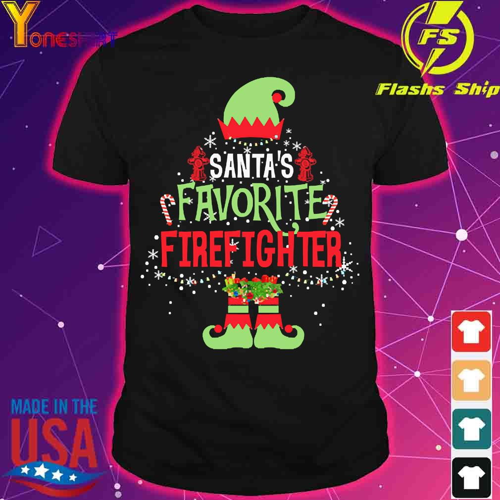 Santa's favorite firefighter tree Christmas shirt