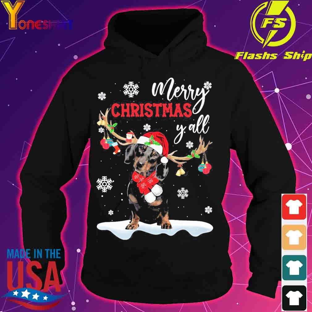 Official Dachshund Santa Reindeer Merry Christmas Y'all Shirt hoodie