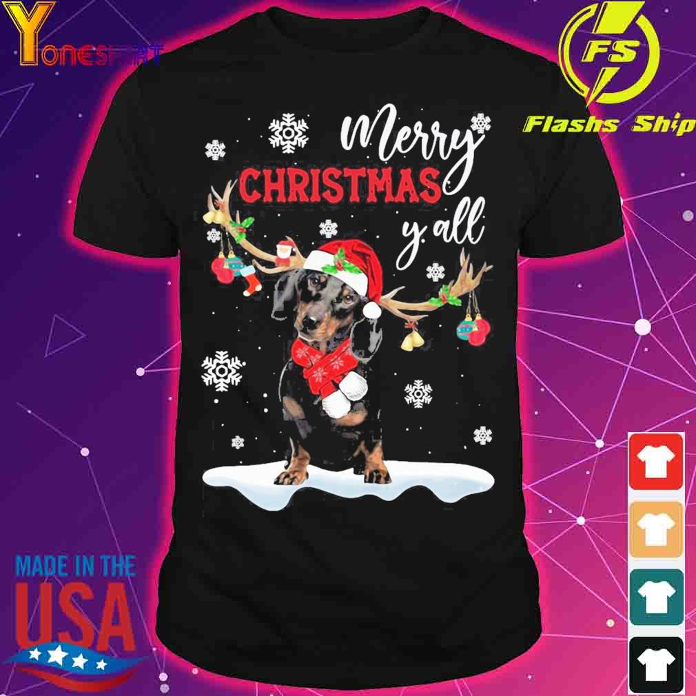 Official Dachshund Santa Reindeer Merry Christmas Y'all Shirt