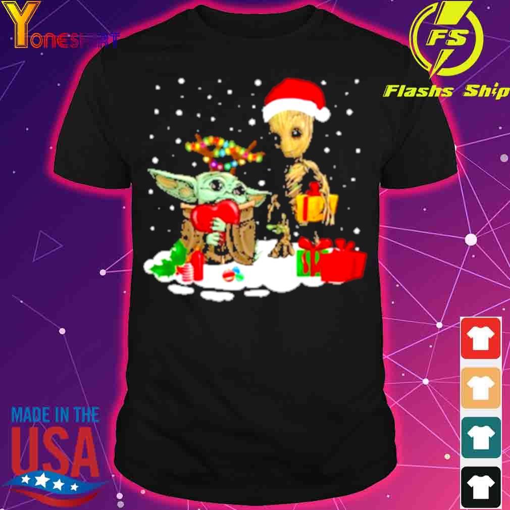 Official Baby Yoda And Santa Groot Christmas Shirt
