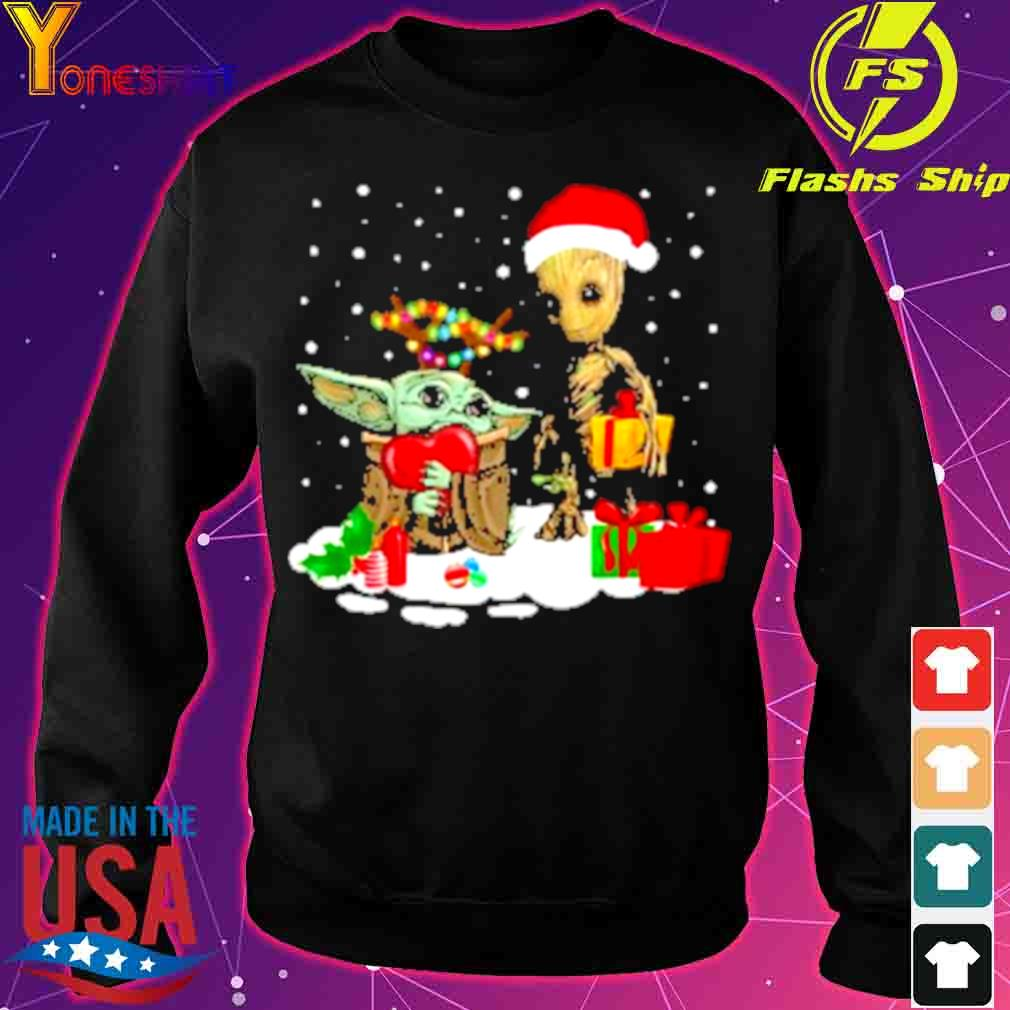 Official Baby Yoda And Santa Groot Christmas Shirt sweater