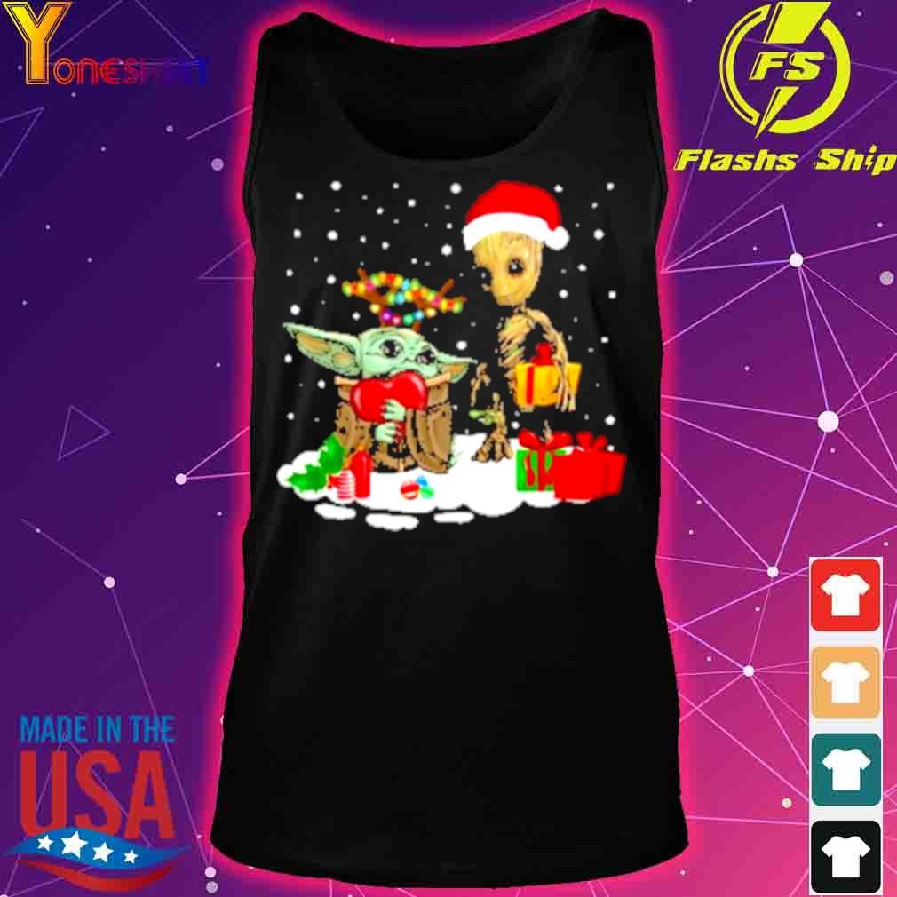 Official Baby Yoda And Santa Groot Christmas Shirt tank top