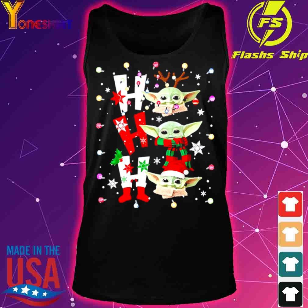 Official Baby Yoda Ho Ho Ho Christmas Shirt tank top