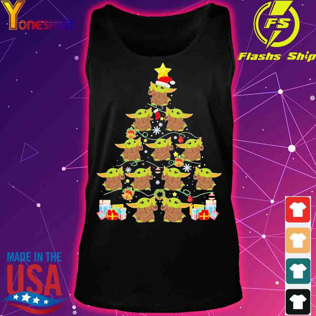 Official Baby Yoda Merry Christmas Tree Gift Shirt tank top