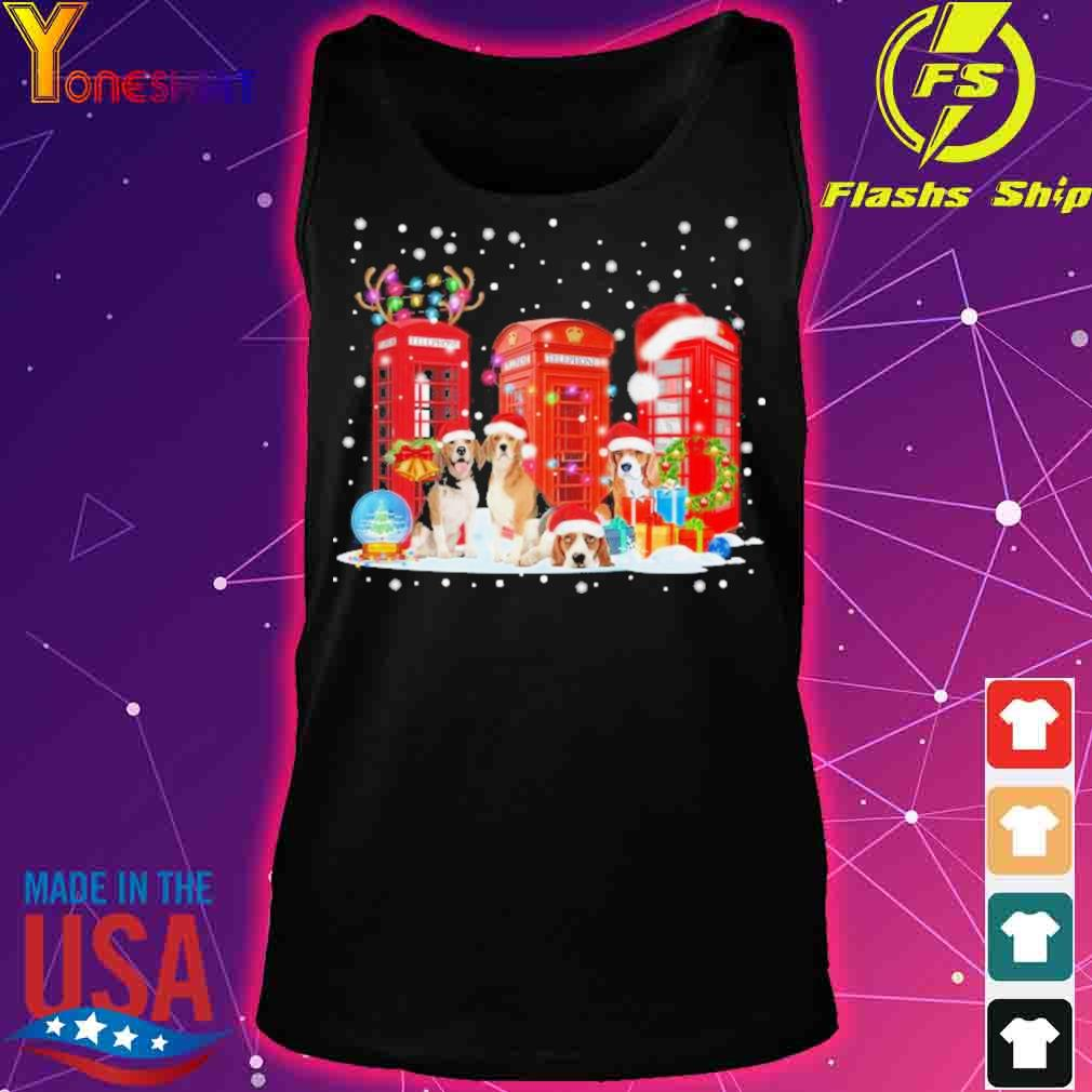 Official Beagle Red Telephone Box Christmas Dog Lovers Xmas Gift Beagle Red Telephone Box Christmas Shirt tank top