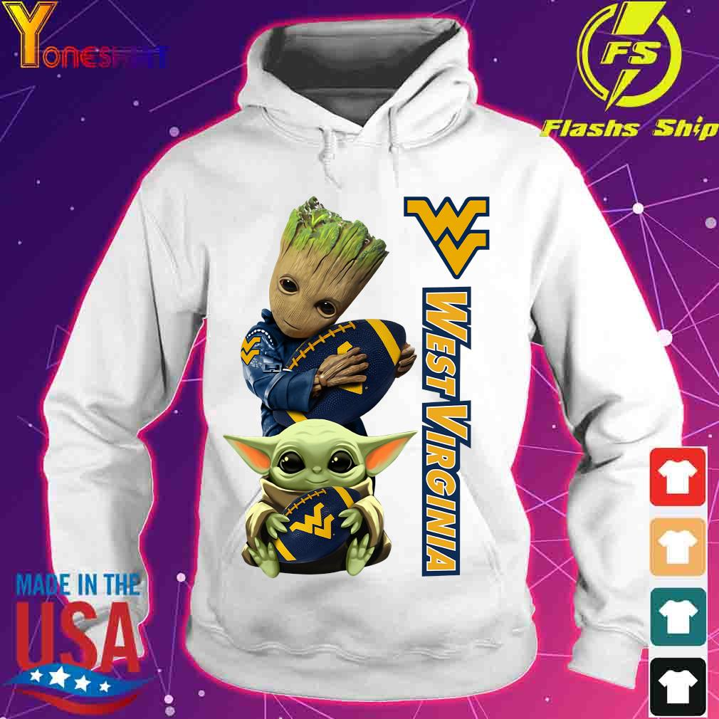 Baby Groot And Yoda Hug West Virginia Mountaineers Shirt hoodie