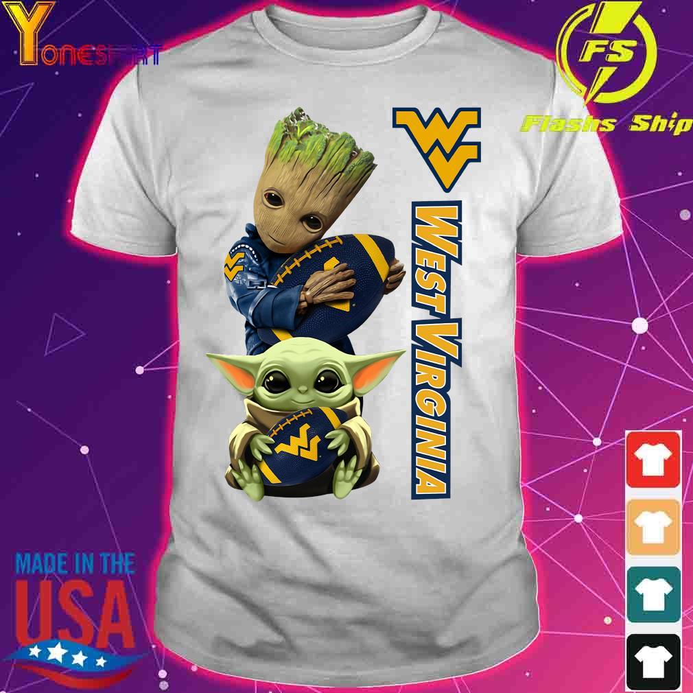 Baby Groot And Yoda Hug West Virginia Mountaineers Shirt