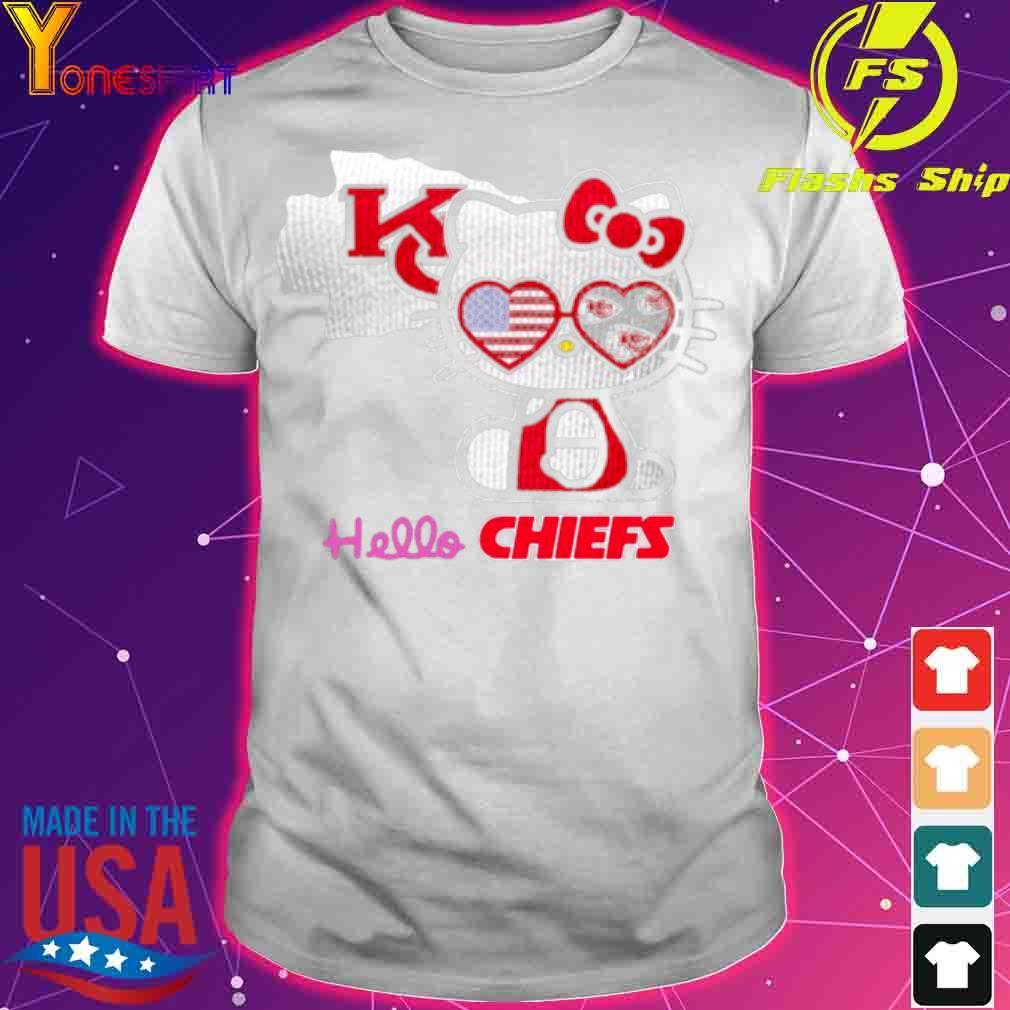 Hello Kitty Hello Kansas City Chiefs With American Flag 2021 Shirt